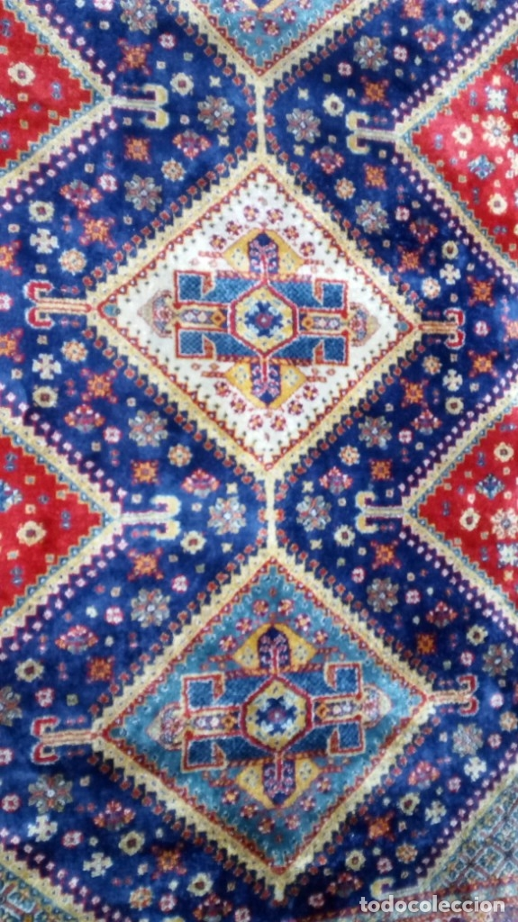 Antigüedades: Alfombra made in India /Calidad Karabag 127x185/100x100 Lana - Foto 5 - 149365070