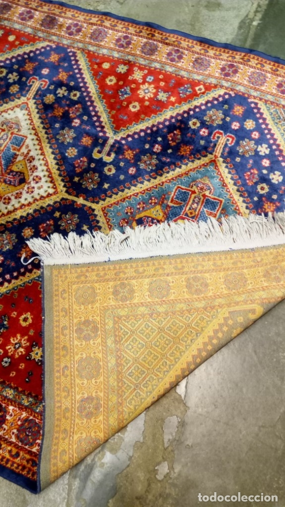 Antigüedades: Alfombra made in India /Calidad Karabag 127x185/100x100 Lana - Foto 7 - 149365070