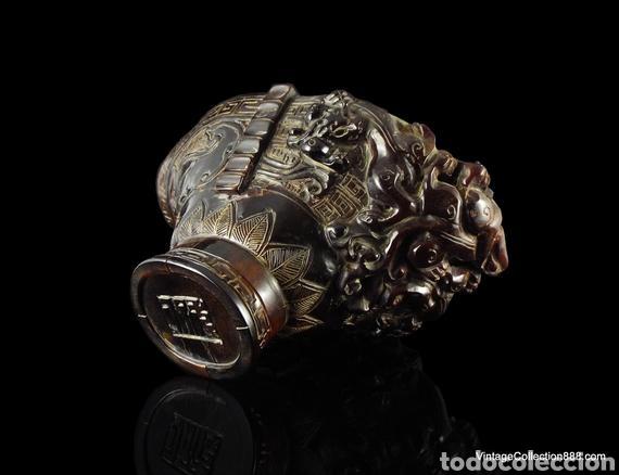 Antigüedades: Vieja Copa china de libación de cuerno tallado Dragones Chilong, máscara Taotie. Chinese Ox Horn Cup - Foto 2 - 148570313