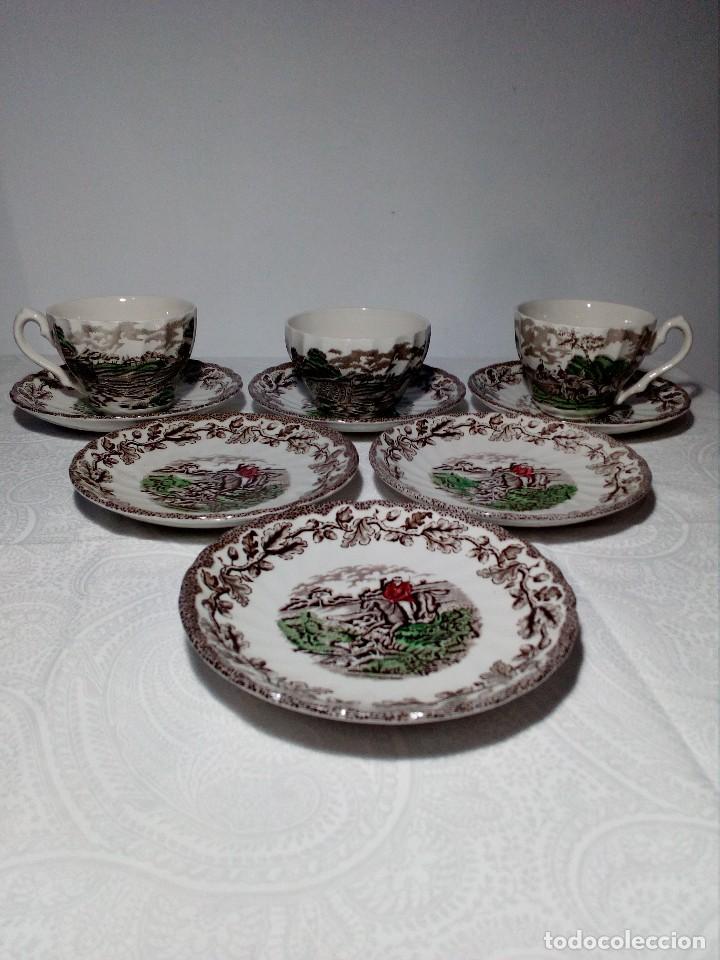 (MYOTTS COUNTRY LIFE) 2 TAZAS DE CAFÉ CON LECHE, 1 SALSERA Y 6 PLATOS PEQUEÑOS PORCELANA (ENGLAND) (Antigüedades - Porcelanas y Cerámicas - Inglesa, Bristol y Otros)