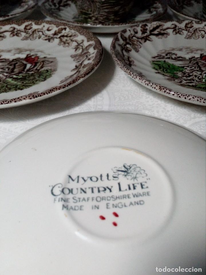 Antigüedades: (MYOTTS COUNTRY LIFE) 2 TAZAS DE CAFÉ CON LECHE, 1 SALSERA Y 6 PLATOS PEQUEÑOS PORCELANA (ENGLAND) - Foto 6 - 149409210