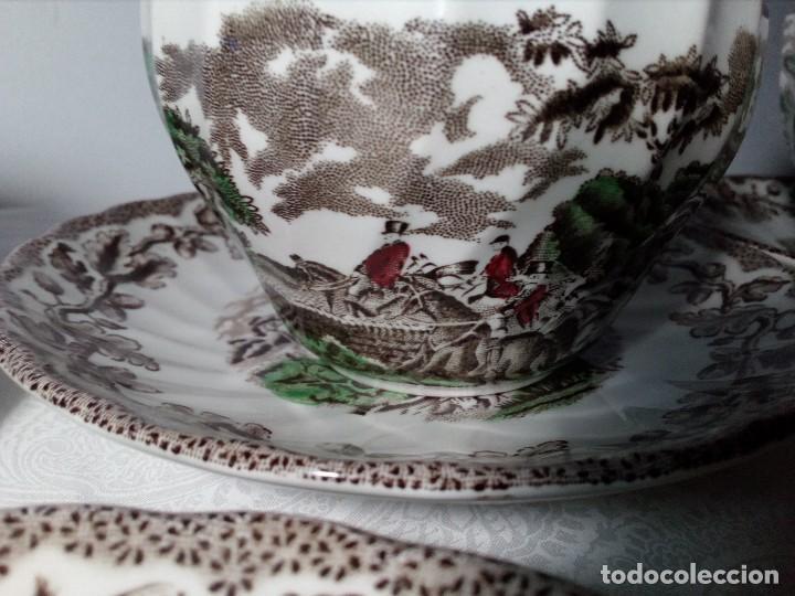 Antigüedades: (MYOTTS COUNTRY LIFE) 2 TAZAS DE CAFÉ CON LECHE, 1 SALSERA Y 6 PLATOS PEQUEÑOS PORCELANA (ENGLAND) - Foto 8 - 149409210