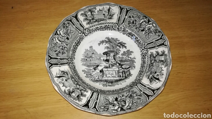 PLATO HONDO DE SARGADELOS NEGRO (Antigüedades - Porcelanas y Cerámicas - Sargadelos)