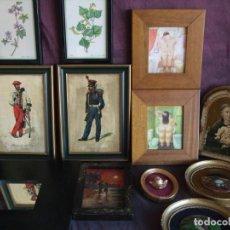 Antigüedades: VINTAGE CUADROS, MARCOS MADERA. ESPEJO.MILITAR, NATURISTA, ICONO VIRGEN ,PINTURA. VER FOTOS. Lote 147482338