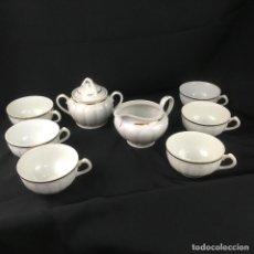 Antigüedades: JUEGO DE CAFÉ INCOMPLETO- 6 SERVICIOS-PORCELANA-SANTA CLARA. Lote 149530146