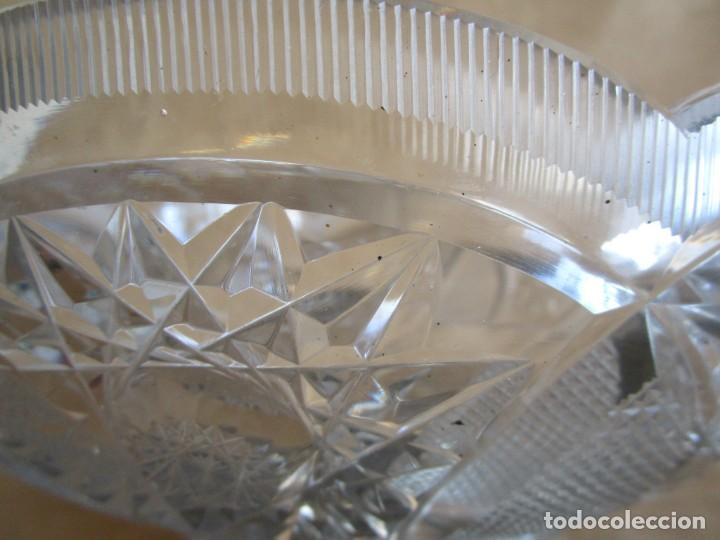Antigüedades: centro de mesa o frutero cristal bohemia tallado con base de plata - Foto 4 - 149563438