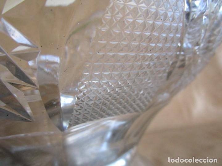 Antigüedades: centro de mesa o frutero cristal bohemia tallado con base de plata - Foto 6 - 149563438