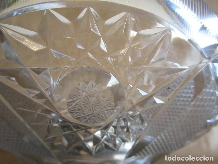 Antigüedades: centro de mesa o frutero cristal bohemia tallado con base de plata - Foto 7 - 149563438