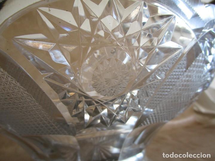 Antigüedades: centro de mesa o frutero cristal bohemia tallado con base de plata - Foto 8 - 149563438
