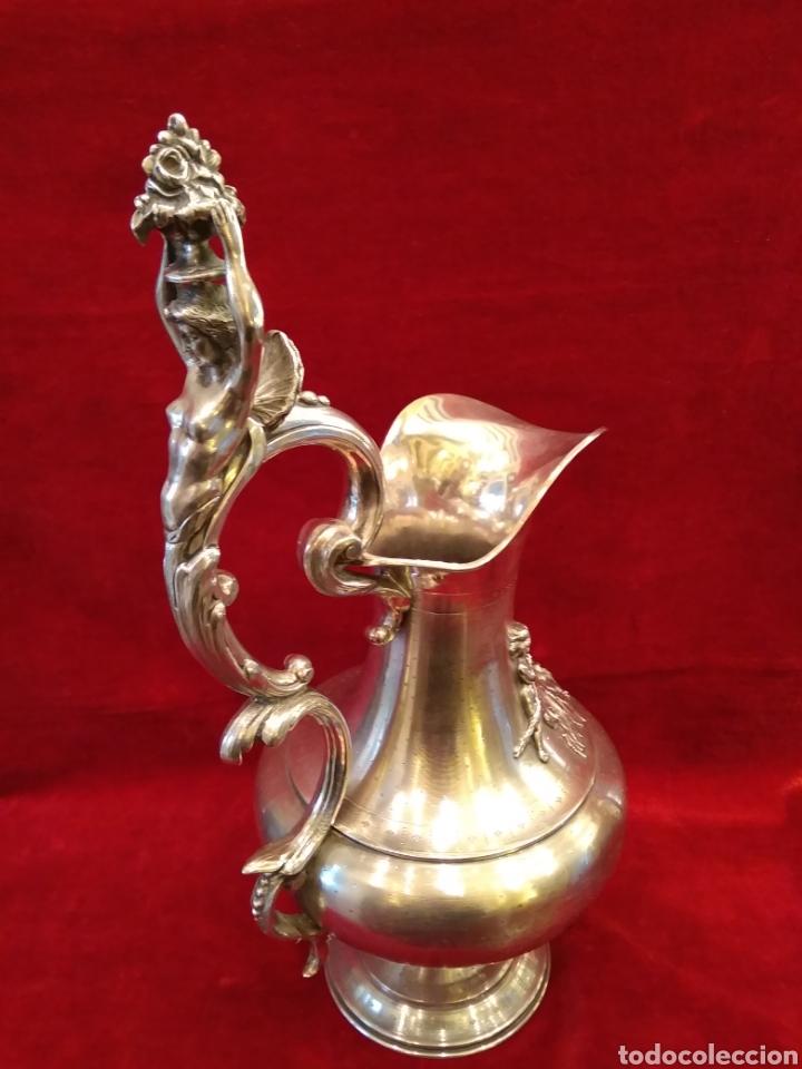 Antigüedades: Jarra de plata de ley siglo XIX 1200 gramos - Foto 4 - 149568514