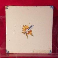Antigüedades: AZULEJO VALENCIANO FLOR. Lote 149577002