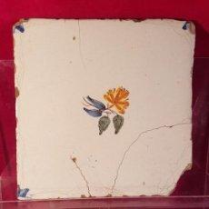 Antigüedades: AZULEJO VALENCIANO FLOR. Lote 149577426