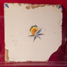 Antigüedades: AZULEJO VALENCIANO FLOR. Lote 149577858