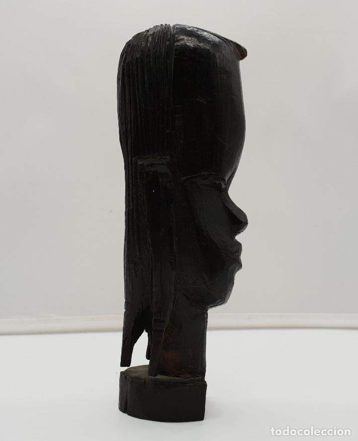 Antigüedades: Bonito busto femenino antiguo africano tallado a mano en Kenia, Africa. - Foto 3 - 149589002