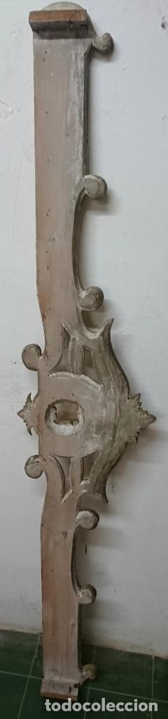 Antigüedades: Antiguo cortinero, galería de madera dorada al oro fino. Original Reina Ana. Siglo XVIII. 190x38x10 - Foto 6 - 149594734
