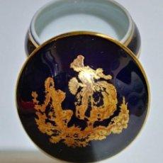 Antigüedades: PEQUEÑO JOYERO DE LIMOGES EN AZUL COBALTO Y ORO. FIRMADO PORCELAINE D'ART LIMOGES FRANCE. Lote 117450503