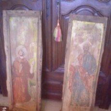 Antigüedades: GRANDE PAREJA DE OLEO SOBRE TABLA RETABLO XVII SANTO. Lote 149601566