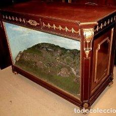 Antigüedades: MUEBLE CON DIORAMA DE PLANTACION CARIBEÑA DE CAÑA. Lote 149606522