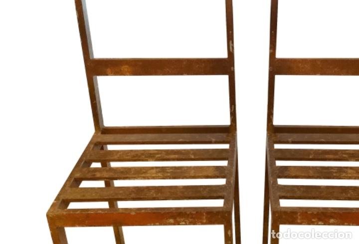 Antigüedades: Antiguas sillas de hierro industriales.Espectaculares. - Foto 3 - 149690910