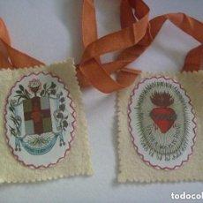Antigüedades: MUY ANTIGUO ESCAPULARIO DEL SAGRADO CORAZON DE JESUS, APOSTOLADO DE LA ORACION.. Lote 149706470