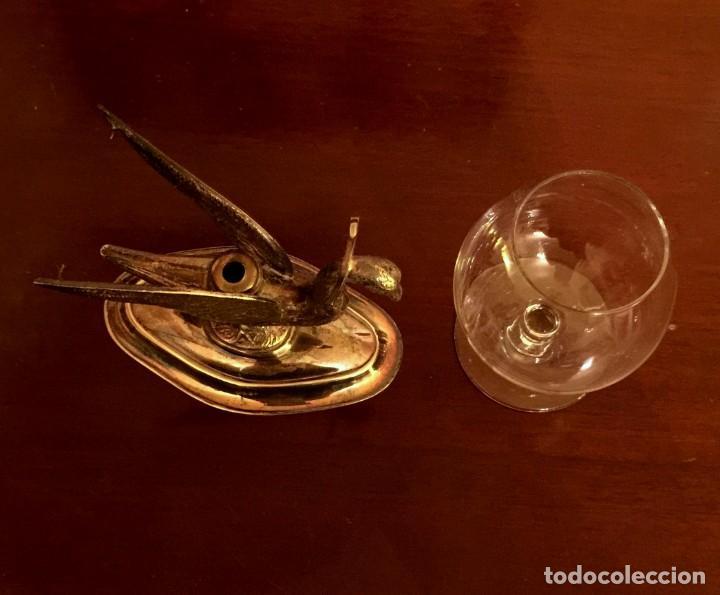 Antigüedades: ANTIGUO CISNE CALENTADOR DE COPA DE COÑAC DE ALPACA. - Foto 5 - 149745042