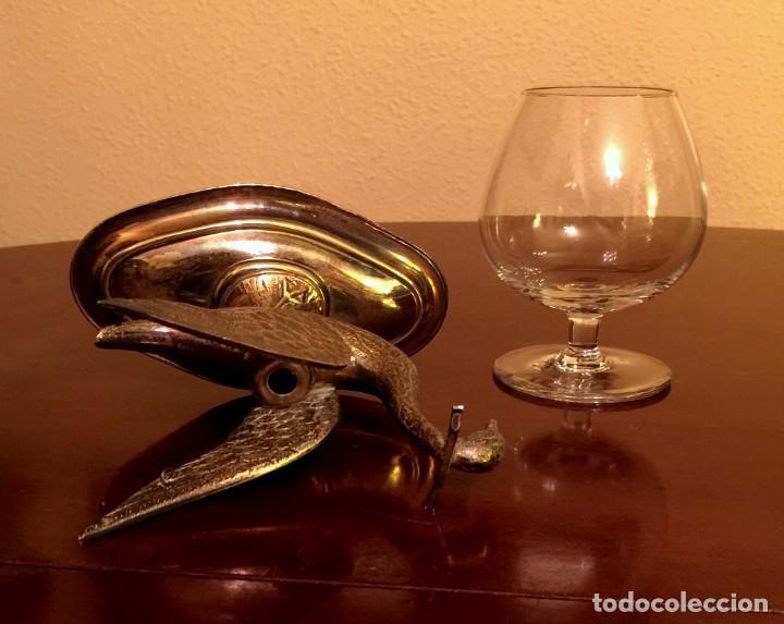 Antigüedades: ANTIGUO CISNE CALENTADOR DE COPA DE COÑAC DE ALPACA. - Foto 6 - 149745042
