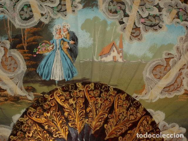 Antigüedades: ANTIGUO ABANICO PINTADO A MANO,FIRMADO I.SANTAMARIA. - Foto 3 - 149747294