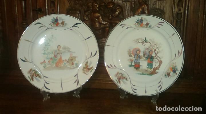 LOTE DE 2 ANTIGUOS PLATOS DE SAN CLAUDIO - OVIEDO CON DECORACION ORIENTAL (Antigüedades - Porcelanas y Cerámicas - San Claudio)