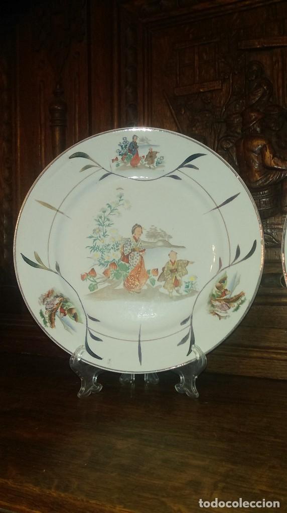 Antigüedades: Lote de 2 antiguos platos de San Claudio - Oviedo con decoracion oriental - Foto 2 - 149770070