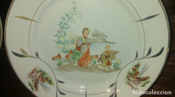 Antigüedades: Lote de 2 antiguos platos de San Claudio - Oviedo con decoracion oriental - Foto 3 - 149770070