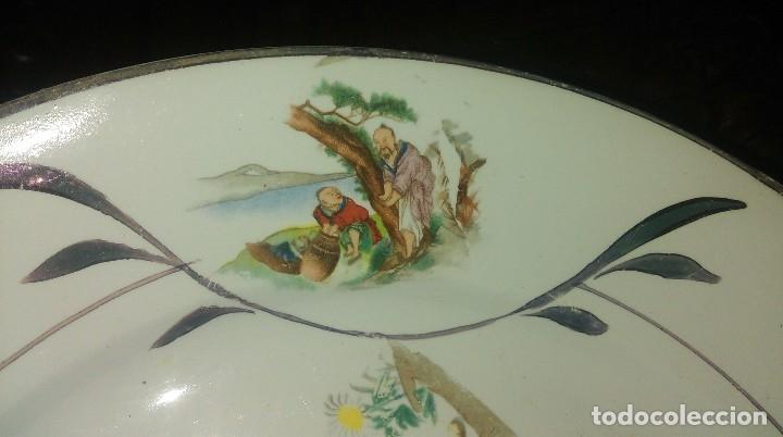 Antigüedades: Lote de 2 antiguos platos de San Claudio - Oviedo con decoracion oriental - Foto 4 - 149770070