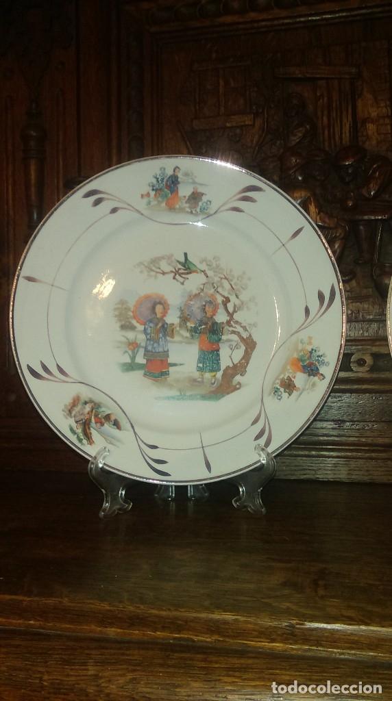 Antigüedades: Lote de 2 antiguos platos de San Claudio - Oviedo con decoracion oriental - Foto 5 - 149770070