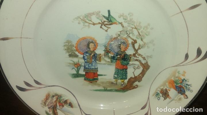 Antigüedades: Lote de 2 antiguos platos de San Claudio - Oviedo con decoracion oriental - Foto 6 - 149770070
