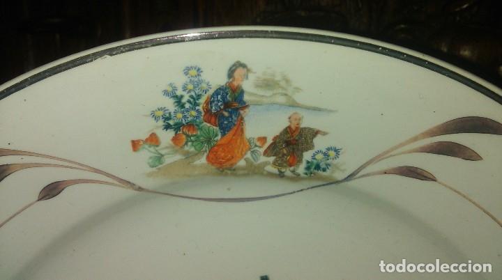 Antigüedades: Lote de 2 antiguos platos de San Claudio - Oviedo con decoracion oriental - Foto 7 - 149770070