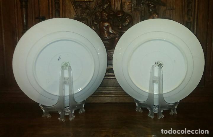 Antigüedades: Lote de 2 antiguos platos de San Claudio - Oviedo con decoracion oriental - Foto 8 - 149770070