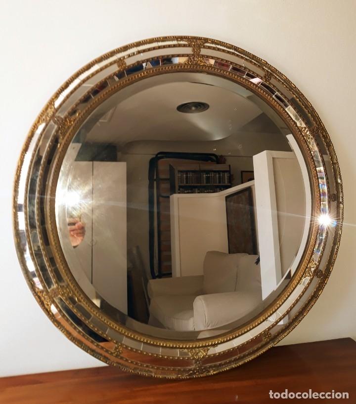 Antigüedades: Gran Espejo Antiguo Años 40. Posiblemente España o Francia. Con decoración en Latón. - Foto 8 - 149811750