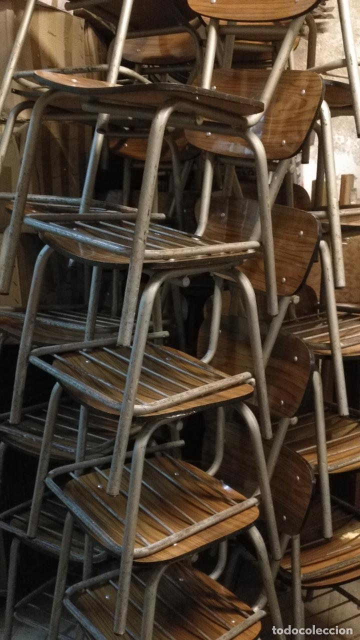 VINTAGE INDUSTRIAL LOFT RETRO ASIENTO SILLAS 77 CM COLEGIO ESCUELA FÓRMICA CON LIBRERO BAJO AÑOS 60 (Antigüedades - Muebles Antiguos - Sillas Antiguas)