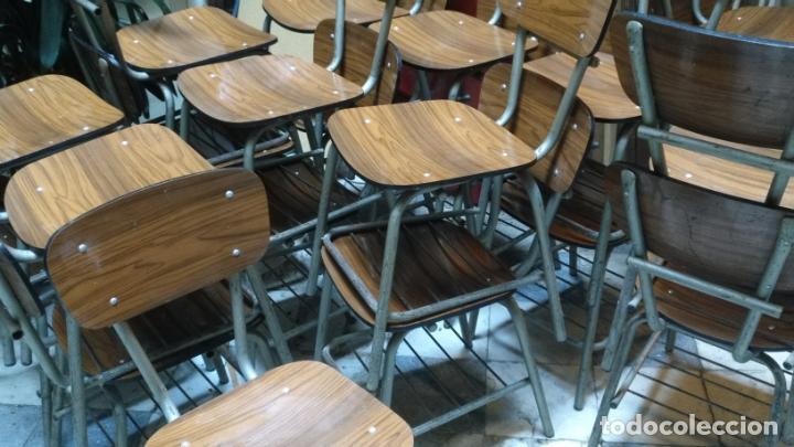Antigüedades: vintage industrial loft retro asiento Sillas 77 CM colegio escuela fórmica con librero bajo AÑOS 60 - Foto 2 - 152839357