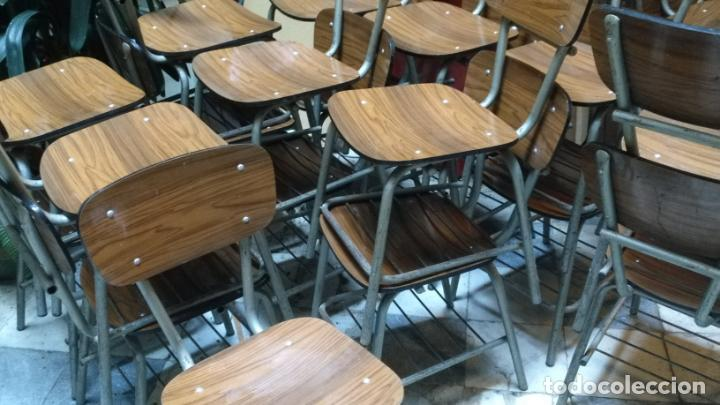 Antigüedades: vintage industrial loft retro asiento Sillas 77 CM colegio escuela fórmica con librero bajo AÑOS 60 - Foto 3 - 152839357