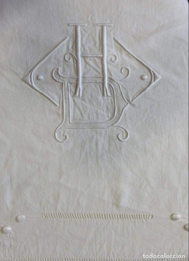 ANTIGUA SÁBANA DE LINO CON VAINICAS E INICIALES BORDADAS PRINCIPIO S.XX (Antigüedades - Hogar y Decoración - Sábanas Antiguas)