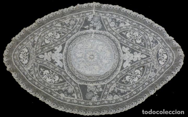 ANTIGUO TAPETE DE ENCAJE NORMANDÍA - S.XIX (Antigüedades - Moda - Encajes)