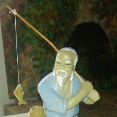 Antigüedades: ANTIGUA Y ORIGINAL FIGURA DE CERAMICA CHINA, SELLADA JAN JIANG.. Lote 149922138