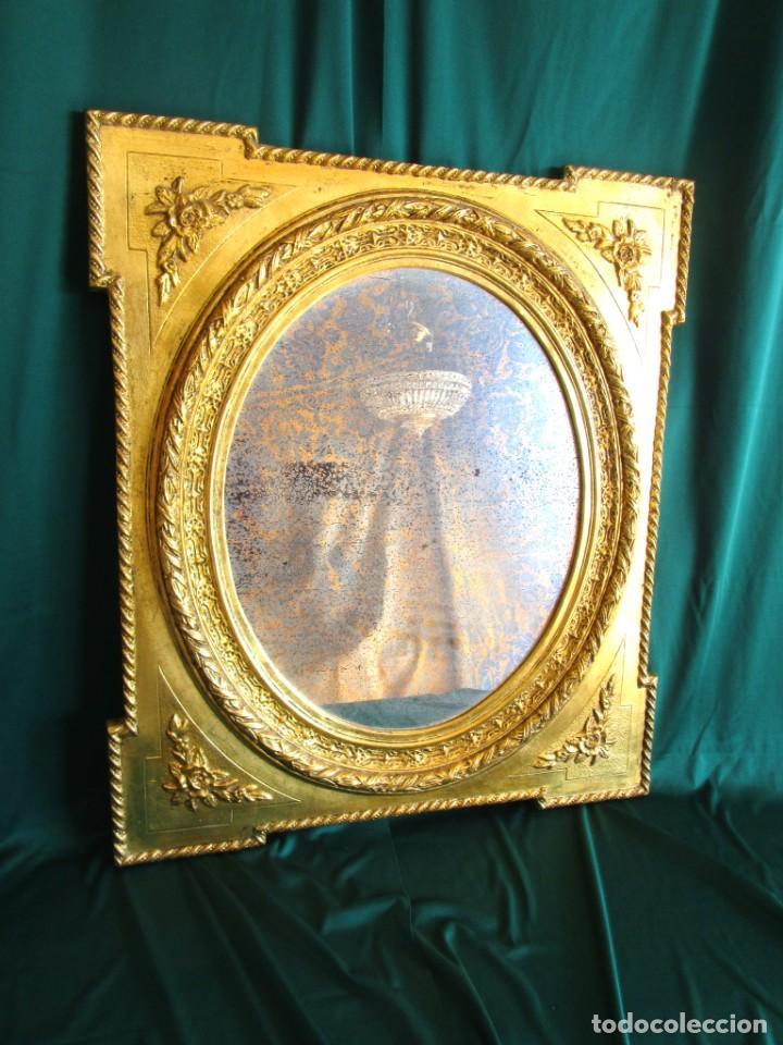 ANTIGUO ESPEJO ISABELINO PAN DE ORO RESTAURADO CRISTAL ORIGINAL (Antigüedades - Muebles Antiguos - Espejos Antiguos)