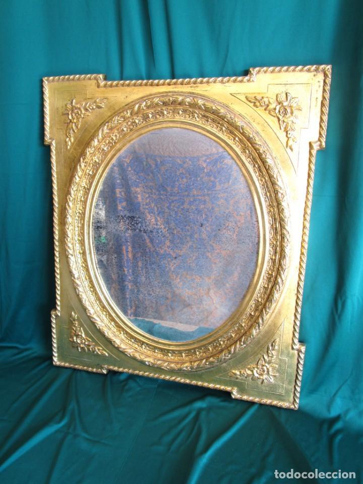 Antigüedades: antiguo espejo isabelino pan de oro restaurado cristal original - Foto 2 - 149959338