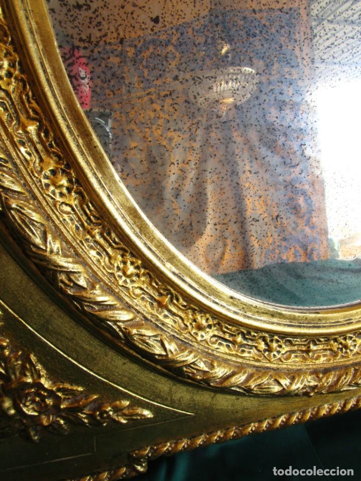 Antigüedades: antiguo espejo isabelino pan de oro restaurado cristal original - Foto 4 - 149959338