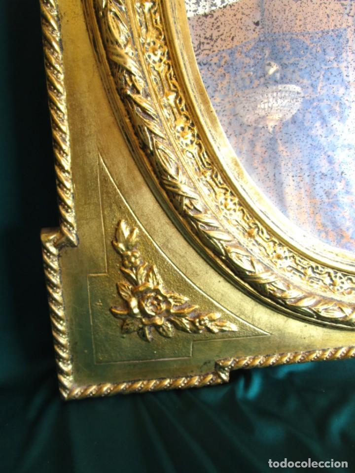 Antigüedades: antiguo espejo isabelino pan de oro restaurado cristal original - Foto 5 - 149959338
