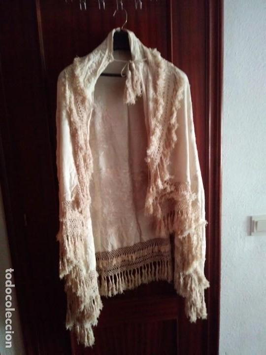 Antigüedades: MANTON MANILA SALIDA DE TEATRO CHAL BORDADO - Foto 3 - 150071146