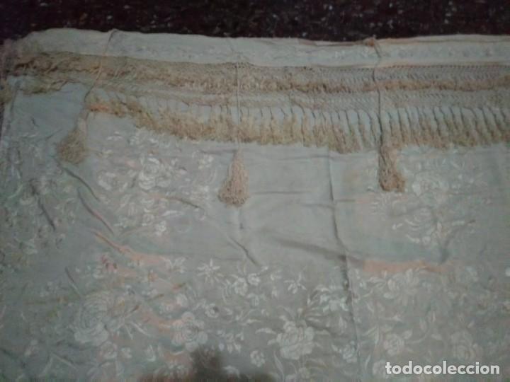 Antigüedades: MANTON MANILA SALIDA DE TEATRO CHAL BORDADO - Foto 6 - 150071146