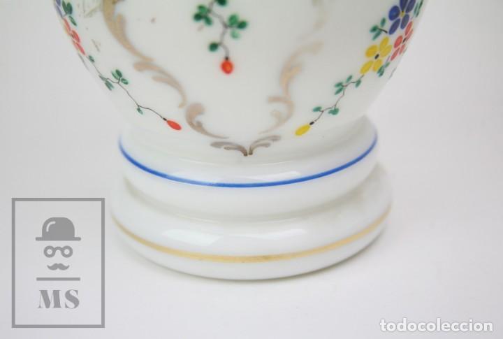 Antigüedades: Antiguo Jarrón de Vidrio Opalino / Opalina Pintado a Mano - Decoración Floral - Años 60-70 - Foto 6 - 150073542