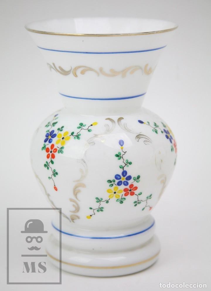 Antigüedades: Antiguo Jarrón de Vidrio Opalino / Opalina Pintado a Mano - Decoración Floral - Años 60-70 - Foto 9 - 150073542